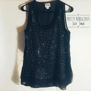 Pretty Rebellious Sheer Black Top with Bling Small